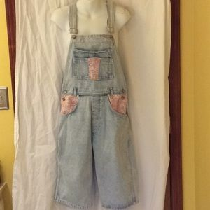 VTG 90s long denim overall shorts/ pink insets